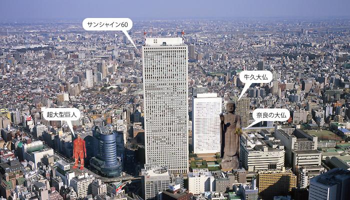 牛久大仏と奈良の大仏とサンシャイン60と超大型巨人を比べてみた